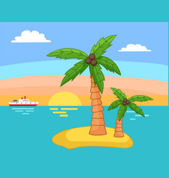 palm trees with coconut on island in sea vector image