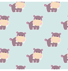 Pattern with a cute baby hippo vector image