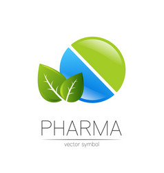 Pharmacy symbol with leaf for pharmacist vector