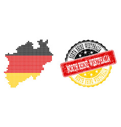 pixelated map of north rhine-westphalia state vector image