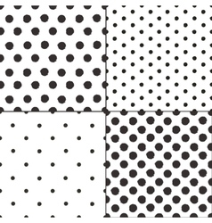 Polka dot black and white painted seamless vector image