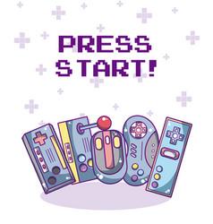 Press start videogame vector