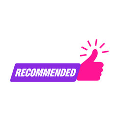 Recommend icon thumb up recommended sale label vector