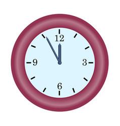 red clock minute hand on five to twelve hour vector image