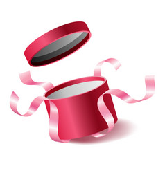 Red pink opened 3d realistic round gift box vector