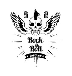 Rock n roll forever skull vector