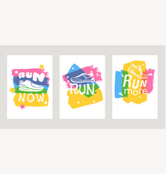 run lettering on running shoes sneakers or vector image