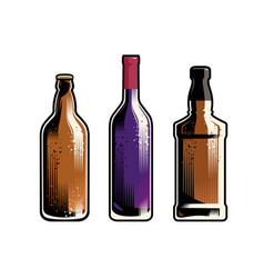 set different drinks and bottles retro vector image