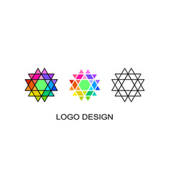 set of three geometrical logo template vector image