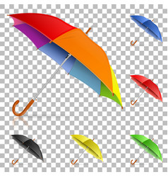 set realistic umbrellas vector image