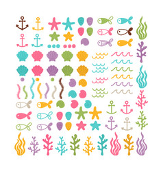 Set with hand drawn sea animals and creatures big vector