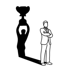 shadow of businessman holding big trophy over his vector image