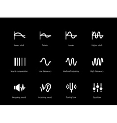 Sound wave cycle icons on black background vector image
