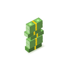 Stack of green paper banknotes of dollars in packs vector