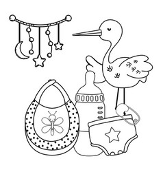 Stork toys and baby clothing in black and white vector