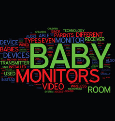 The different types of baby monitors text vector
