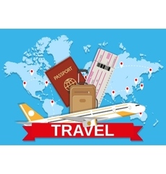 Travel bag and world map vector