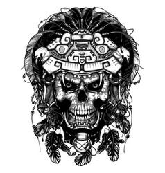 warrior jaguar skull vector image