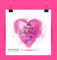watercolor painted pink heart element for vector image