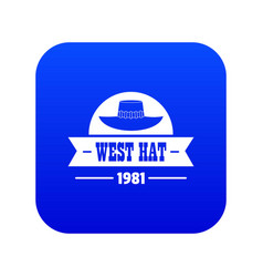 West hat icon blue vector