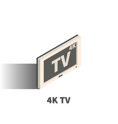 white 4k tv icon symbol vector image