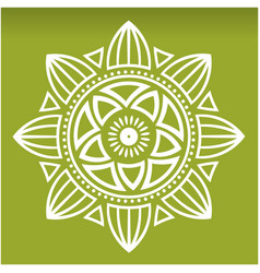 White lotus mandala green background image vector