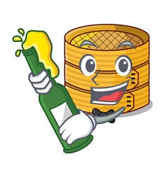 With beer wooden steamed food container on cartoon vector