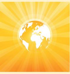 yellow world map sun ray vector image