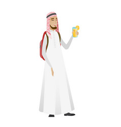 Young muslim traveler man drinking cocktail vector