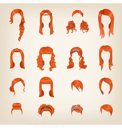Assortment of female red hair vector