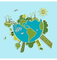 Green World ecologic elements vector image vector image