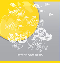 mid autumn festival background with moon carp vector image vector image