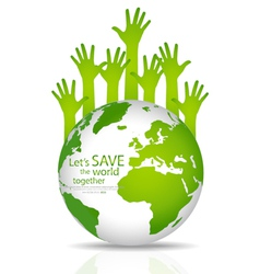 Save the world Globe with hands vector image