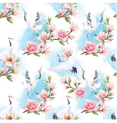 watercolor crane pattern vector image vector image