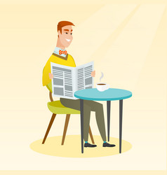man reading a newspaper and drinking coffee vector image vector image