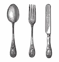 Spoon knife and fork vector image vector image