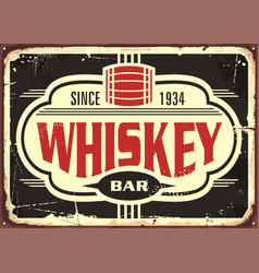 whiskey bar vintage tin sign vector image
