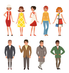 Young men and women wearing retro clothing set vector
