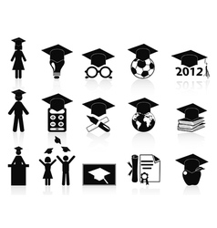 black Graduation icons set vector image