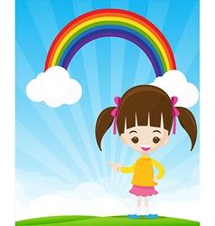 Cute little girl pointing the finger on sunburst vector image