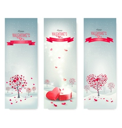 Holiday retro banners Valentine trees with vector image vector image