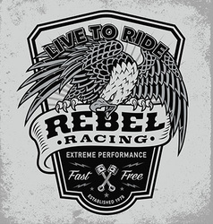 Rebel racing eagle crest shield t-shirt graphic vector image vector image