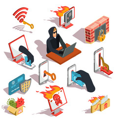 set of isometric hacker icons vector image vector image