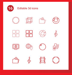 16 3d icons vector image