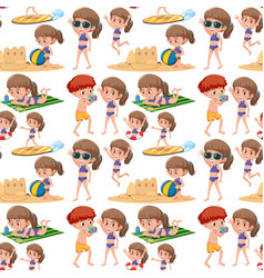beach kids seamless pattern vector image