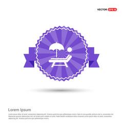Beach umbrella and bed icon - purple ribbon banner vector