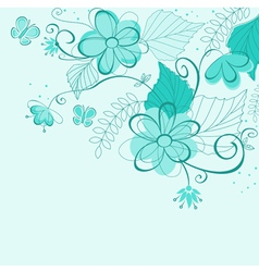 blue abstract floral vector image