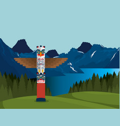 Canadian landscape with totem scene icon vector