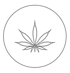 cannabis marijuana leaf black icon in circle vector image