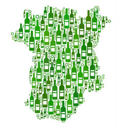 Chechnya map mosaic of wine bottles and circles vector
